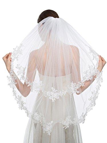 capa velo de novia de encaje y apliques