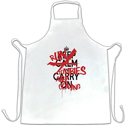 Halloween Schürze des Chefs Keep Calm & Run, Zombies kommen, White One Size