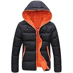 Chaquetas de hombre, Manadlian Hombres Abrigo grueso invierno con capucha Delgado Casual Una chaqueta abrigada Anorak Sobretodo con capucha (M, Naranja)