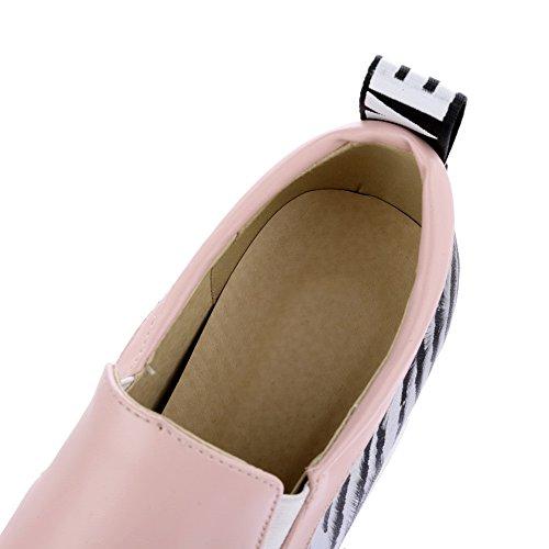 AgooLar Femme Rond Tire PU Cuir Couleurs Mélangées à Talon Haut Chaussures Légeres Rose