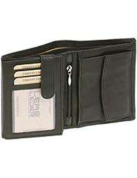 Portefeuille pour homme et femme format portrait LEAS MCL, cuir véritable, noir - ''LEAS Arrow-Line''