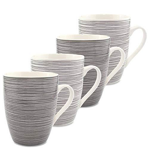 MC-Trend 4er Set Tassen Becher im Retro Streifen Design für Kaffee Tee Kakao für Büro Küche Kantine Catering Schreibtisch - Porzellan 300ml
