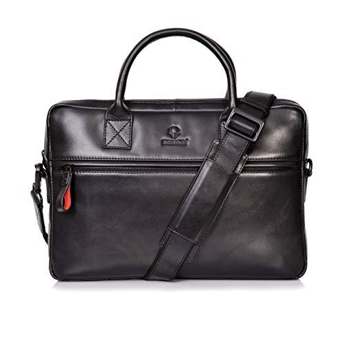 Donbolso Notebooktasche Marseille 13,3 Zoll Leder I Umhängetasche für Laptop I Aktentasche für Notebook I Tasche für Damen und Herren (Schwarz) -
