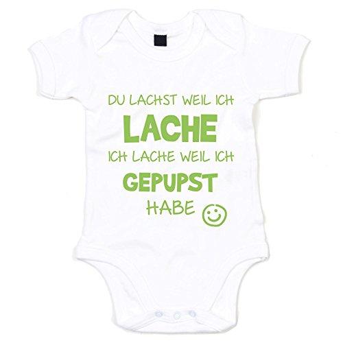 Baby Body - Du lachst weil ich lache - von SHIRT DEPARTMENT, weiss-apfelgrün, 62-68