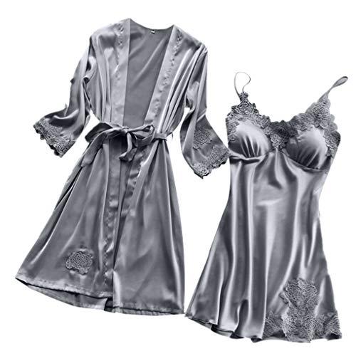 Dorical Damen 2pcs Dessous Die Seide Spitze Robe Kleid Puppe Nachthemd Nachtwäsche Kimono Einstellen Sexy Sling Nachthemd Nachtwäsche Seide Spitze Robe Kleid Babydoll Nachthemd (Small, ()