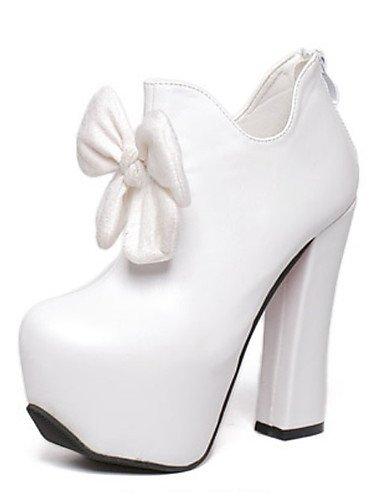 WSS 2016 Chaussures Femme-Habillé / Soirée & Evénement-Noir / Blanc-Gros Talon-Talons-Bottes-Polyuréthane white-us6.5-7 / eu37 / uk4.5-5 / cn37