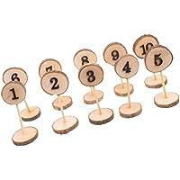 Providethebest Números de la Tabla de la Boda fijados Madera Número Tabla 1-10 Boda de Madera del Color de la Pieza Central Puntales