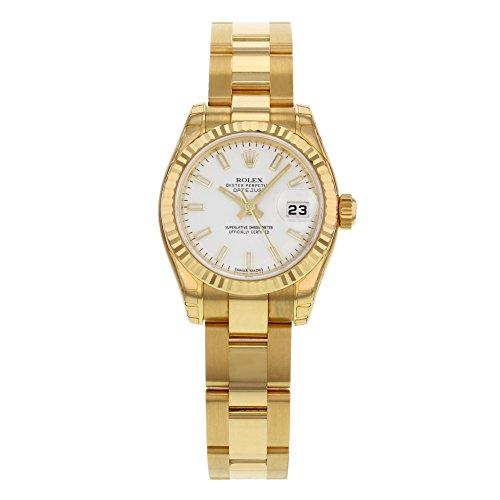Orologio da Polso, Datejust, da Donna, in Oro Giallo 18k, con Quadrante Bianco Automatico WSO.