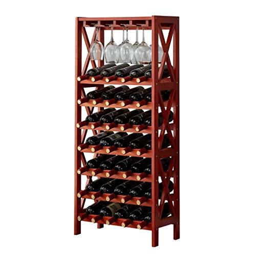 DHTU Weinflaschenhalter Freistehendes Weinlagerregal Wein Eiche Weinschrank Hölzernes Präsentationsregal Hängendes Weinglas Home Wine Grid Rack (Color : B)