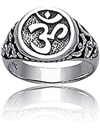 Open Knotwork Aum Om Sterling Silver Ring
