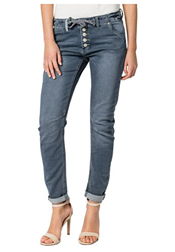 Eight2Nine Damen Sweat Jeans im Boyfriend Style | Jogg-Jeans mit Kordel Middle-Blue L