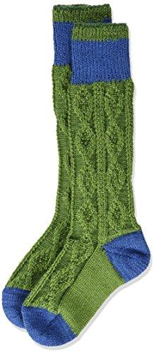 Lusana Jungen Kniestrümpfe Kinder zweifarbig, Grün (Apfelgrün/Mittelblau 3510), 23-26