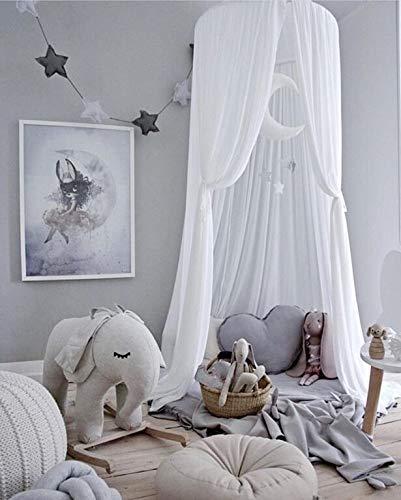 Volowoo Bett Baldachin für Kinder, Chiffon-Moskitonetz, Baby Indoor Outdoor Spiel Lesen Zelt, Bed & Schlafzimmer Dekoration (White) (Lesen Baldachin Für Kinder)