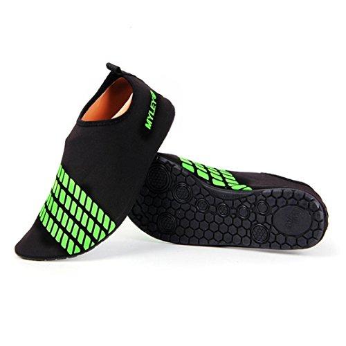 KOLY Uomini Donne Surf Beach Snorkeling Sport Nuoto calzature da immersione Scarpe da passeggio per la pelle Green