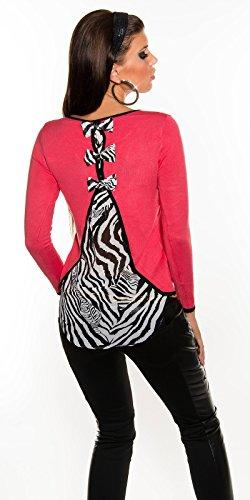 Pull Sexy avec nœuds et mousseline Print.One reg; zèbre Taille 8/10/12. Rouge - Corail