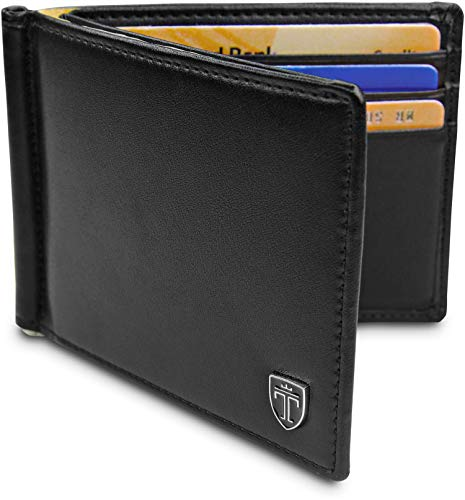 TRAVANDO  Portafoglio uomo con protezione RFID 'VIENNA' Porta carte di credito con clip per contanti Porta tessere slim tascabile Porta documenti piccole Raccoglitore tessere banconote sottile Regalo