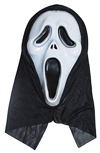 (Das Kostümland Horror Scream Geister Maske - Gruselige Halloween Maske mit Kapuze Haube)