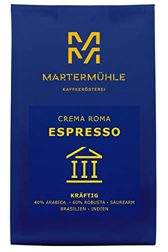 Martermühle | Espresso Crema Roma (500g) | Ganze Bohnen | Premium Espressobohnen aus Brasilien und Indien | Schonend geröstet | Espresso säurearm | 40% Arabica 60% Robusta