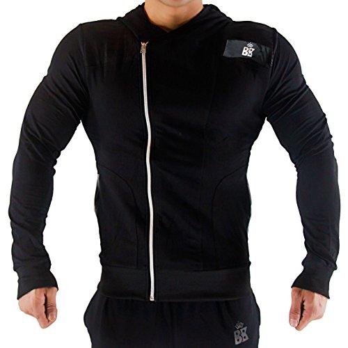 broki Mens GMY Fitness cerniera Felpe con cappuccio-Casual Giacca Outwear Felpa con cappuccio, Zip Up modale Black XX-Large