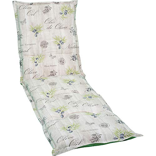 nxtbuy Auflage für Gartenliegen Nizza 190 x 58 x 7 cm - Liegenauflage mit Komfortschaumkern und Bezug - Sitzpolster für Gartenliegen, Dessin:Olives Beige