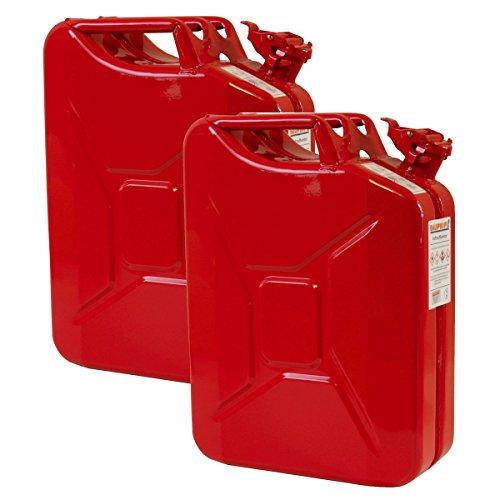 2er Set 20 Liter Benzinkanister Metall GGVS mit Sicherungsstift rot Blechkanister
