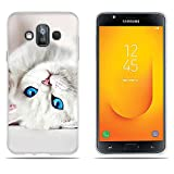 DIKAS Hülle Samsung Galaxy J7 Duo J720, Soft Gummi Silikon Slim Fit Shockproof Flexible 3D zeitgenössischen Chic Design Cover Fall für Samsung Galaxy J7 Duo J720 (5.5
