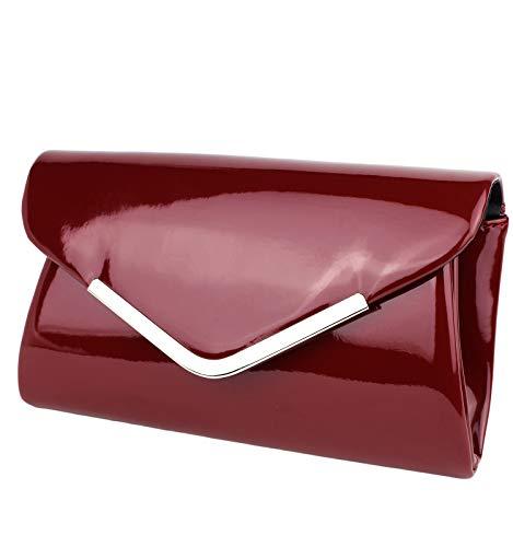 Schompi Vintage Damen Lack-Tasche Abendtasche Clutch Bag mit abnehmbarer Schulterkette Kettentasche, Farbe:Bordeaux