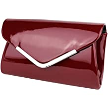 34fe4e448506d Schompi Vintage Damen Lack-Tasche Abendtasche Clutch Bag mit abnehmbarer  Schulterkette Kettentasche