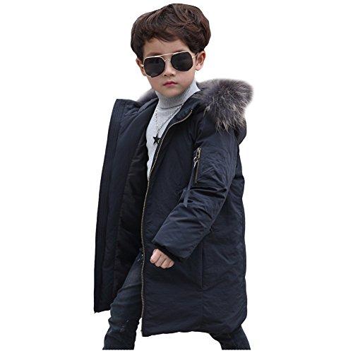 LSERVER-Daunenjacke Kinder Jungen Mädchen Winterjacke mit Fellkapuze Verdickte Kinderjacke Lang Jacket Wintermantel Mantel Parka Outerwear Oberbekleidung Winter Kleidung