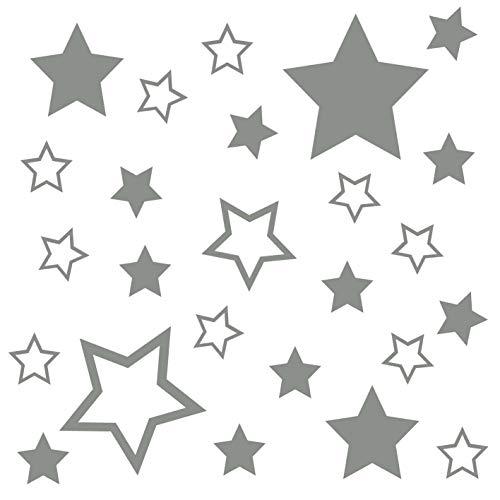 kleb-Drauf | 25 Sterne | Grau - matt | Autoaufkleber Autosticker Decal Aufkleber Sticker | Auto Car Motorrad Fahrrad Roller Bike | Deko Tuning Stickerbomb Styling Wrapping