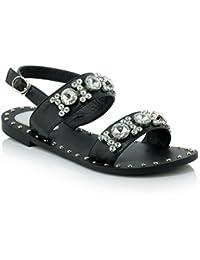 RAZAMAZA Stivali Western Donne Peep Toe - Kitten Heel Peep Toe Sandali Sera (32 EU,Black)