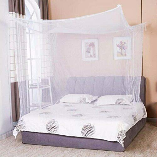 W-shufang, 1 stücke Bettwäsche Netting Bett Moskitonetz 4 Eckpfosten Bett Student Stoff Baldachin Net Königin König Twin Größe Für Doppelbett (Color : Weiß) -