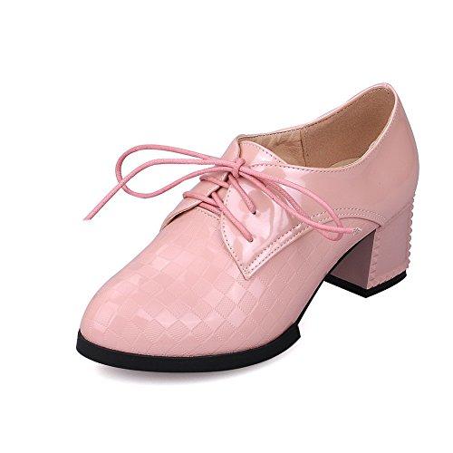 VogueZone009 Femme Pu Cuir à Talon Correct Rond Couleur Unie Lacet Chaussures Légeres Rose
