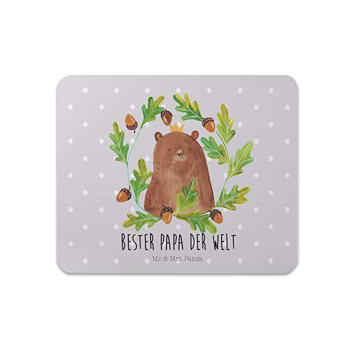 Mr. & Mrs. Panda Geschenk, PC, Mauspad Bär König mit Spruch - Farbe Grau Pastell