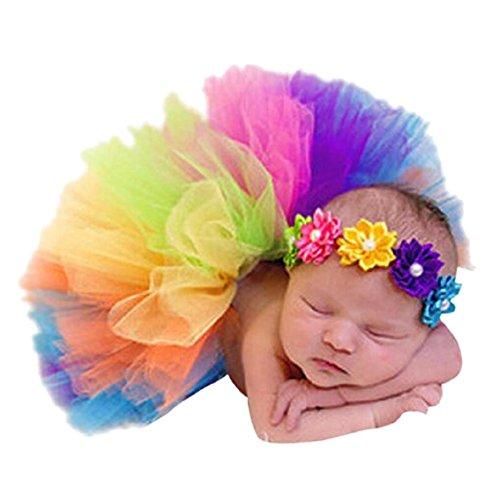 CHIC-CHIC 2 PC Stirnband + Tutu für neugeborenes Kleinkind Bunte Blumen Regenbogen Kurzkleid Baby Röcke Kostüm Fotoshooting Prop Outfit 0-3 Monate ()