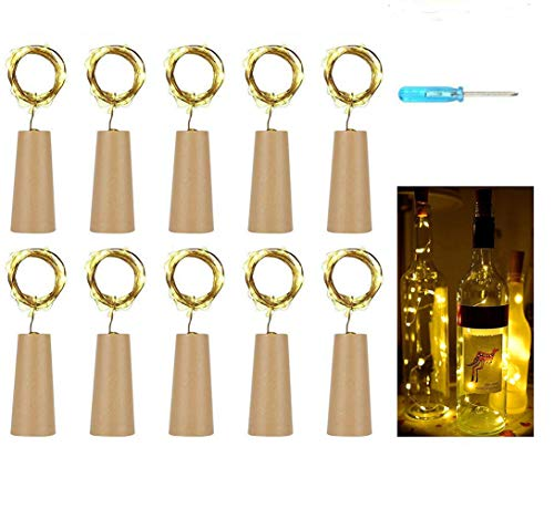 10 Stück 20LED 2M Flaschen-Licht Warmweiß,Flaschenlichter Lichterketten Nacht Licht Weinflasche Flaschenlicht Kork Flaschen Licht LED Lichter Lichterkette Flaschen DIY,romantische Beleuchtung/Party Hochzeit oder Stimmung Lichter (Warmweiß)