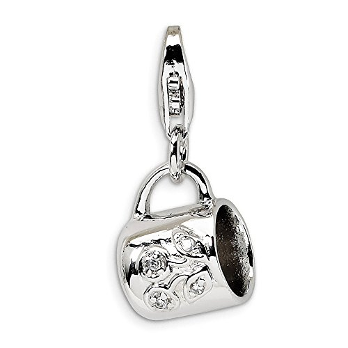 Sterling Silver Rhodium Plated Baby Cup With Lobster Clasp Charm Pendant Sterling Baby Cup