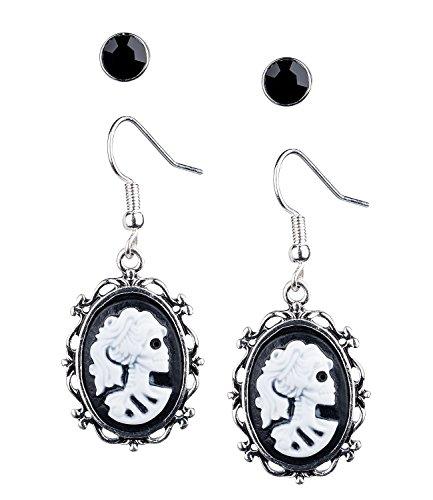 SIX Ohrringe: 2er-Set Gothic Ohrhänger im Victorian-Stil mit Lolita Skull und Ohrstecker, auch für Fasching und Halloween, schwarz/silber (732-986)