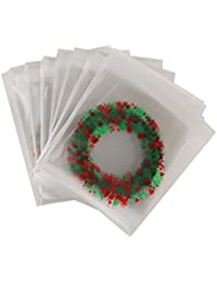 100pcs Selbstklebende Cellophantüte Süßigkeiten Cookie Taschen Weihnachten Geschenke