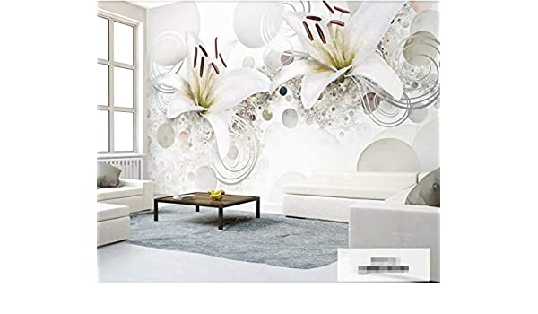 Weiße Pearlescent Lilie Fototapete 3d Tapete Muster Effekt UMVqSzp