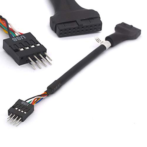 Adaptateur USB 3.0vers 2.0Câble Adaptateur convertisseur USB 3.019Broches Femelle vers USB2.0mâle à 9Broches convertisseur Carte mère d'Intel ASUS Gigabyte MSI Ports