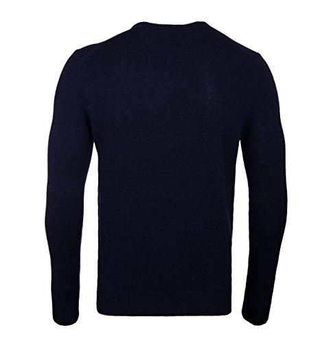 Farah Rosecroft Crew Neck Wool Jumper in Dusky Blue Tn True Navy