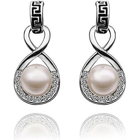 Alimab Joyería Chapado en oro Gota pendiente Figura 8 arete de perla de plata - Pendientes para Mujer