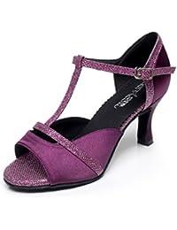 JSHOE Frauen Sexy Salsa Jazz Tanzschuhe Ballsaal Latin Tango Party Tanzschuhe High Heels,Pink-heeled6cm-UK4.5/EU36/Our37