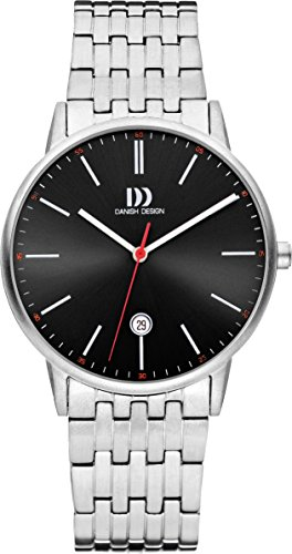 Danish Design Men's Quartz Watch with Black Dial Analogue Display and Silver Stainless Steel Bracelet DZ120496