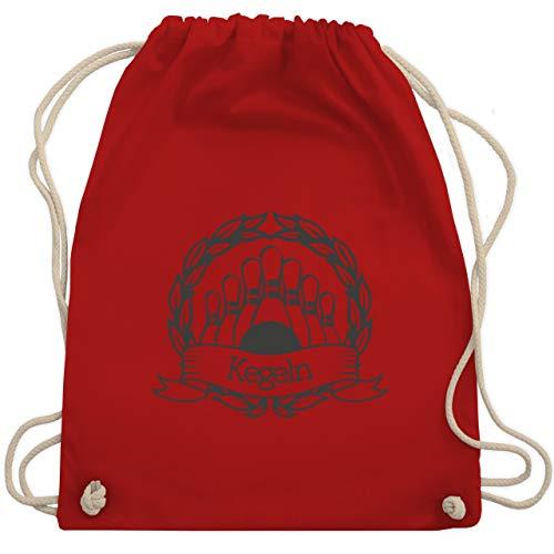 Shirtracer Bowling & Kegeln - Kegeln Lorbeerkranz - Unisize - Rot - WM110 - Turnbeutel und Stoffbeutel aus Bio-Baumwolle