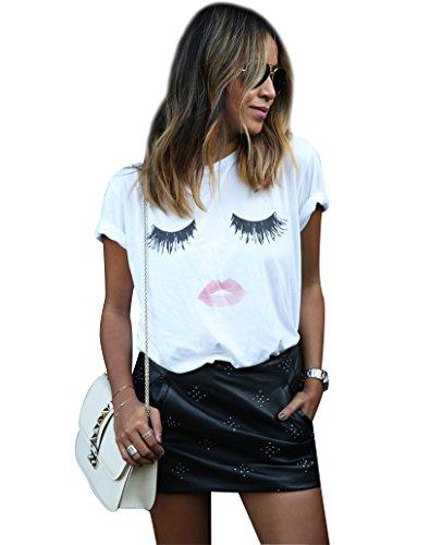 Aufdruck Wimper Lippen Damen Ausgefallene Sommer T Shirts Kurzarm Tops Top Für Frauen Oberteile Lässige Lockere Schöne Coole Party T Shirts T-Shirt Weiß L (Ausgefallene Wimpern)