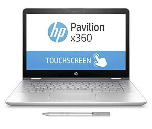 HP Pavilion x360 (14-ba019ng) 35,6 cm (14 Zoll / FHD Touchscreen) Convertible Notebook (Intel Core i5-7200U, 8GB RAM, 256GB SSD, Intel HD-Grafikkarte 620, Windows 10 Home 64) silber
