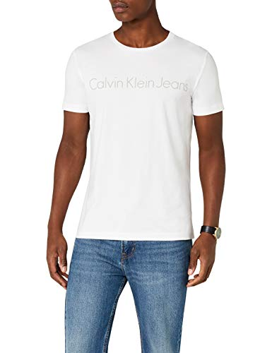 Calvin klein jeans treasure 2 slim cn tee ss, t-shirt uomo, bianco (bright white 112), xx-large