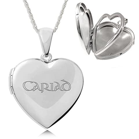 Cariad Sterling Silver Heart Shaped Family Album Locket (4 photo) Necklace